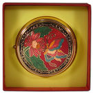 【鹿港窯】景泰藍大連身印泥盒‧直徑7.5cm厚度2.8cm‧圖案隨機出貨