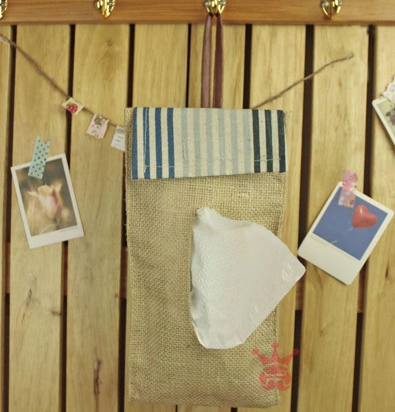 鄉村風.條紋紙巾收納袋.面紙收納掛袋.置物袋