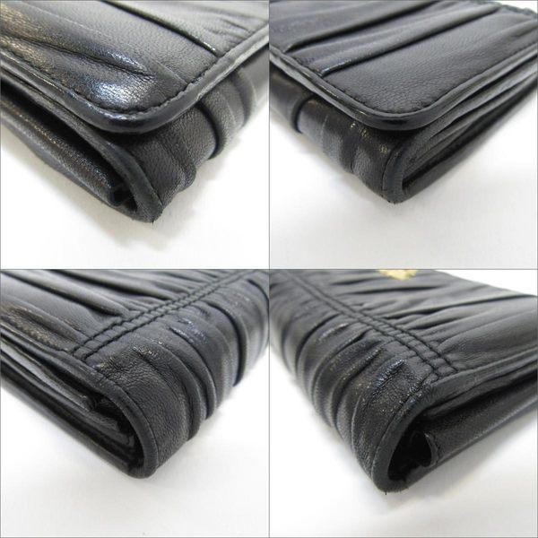 PRADA 普拉達 黑色羊皮皺褶掀蓋雙釦式二折式長夾  【二手名牌BRAND OFF】
