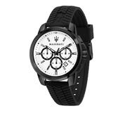 MASERATI 瑪莎拉蒂 經典三眼計時矽膠錶帶腕錶44mm(R8871621010)