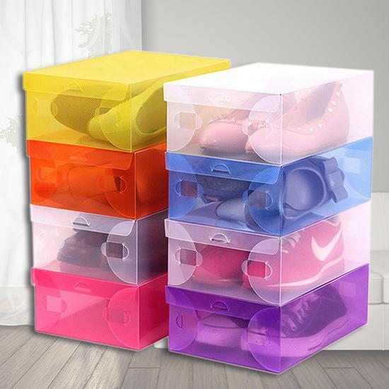 透明鞋盒 翻蓋式 收納盒 玩具盒 置物盒 收納箱 透視 可折疊 分類 DIY組裝【B070】生活家精品
