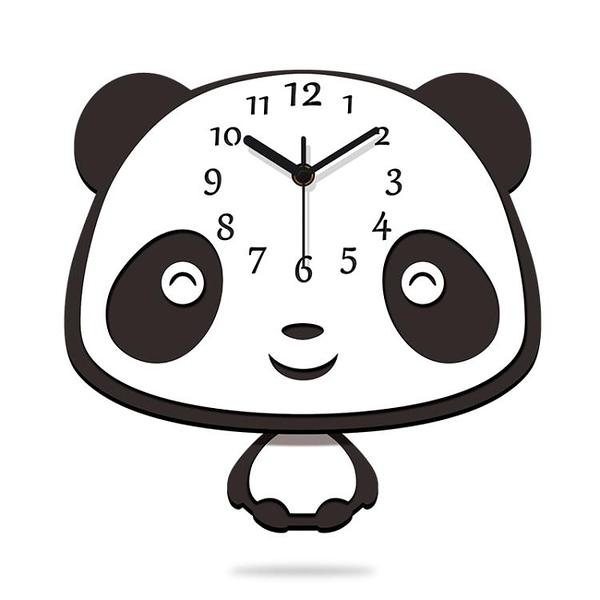 時鐘 免打孔靜音卡通鐘表家用臥室可愛個性兒童房掛鐘客廳創意掛墻時鐘 歐歐