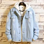 破洞牛仔外套男春季韓版潮流2019新款春裝帥氣寬鬆上衣服男士夾克-Ifashion