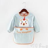 兒童圍裙畫畫罩衣美術防水長袖寶寶吃飯圍兜反穿衣防臟幼兒園罩衣