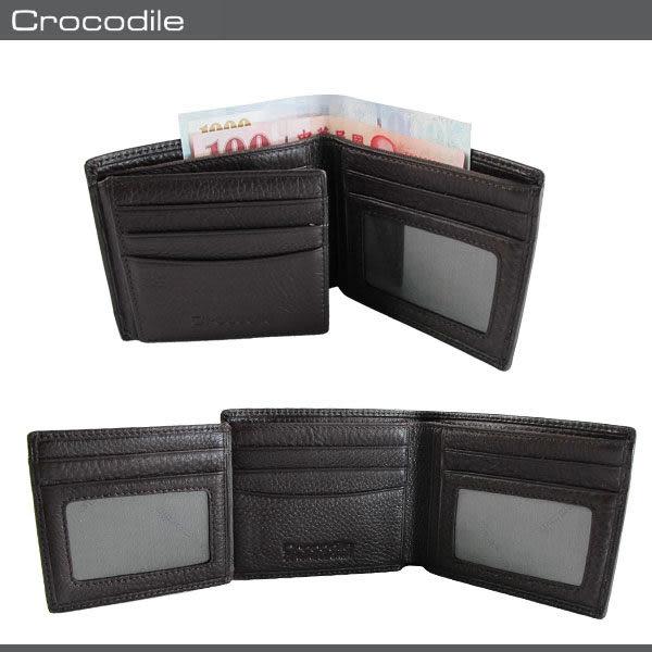 Crocodile  鱷魚 皮夾 / 短夾 0103-33582 咖啡色 進口真皮軟夾 MyBag得意時袋
