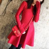 歐洲站2018秋冬季新款顯瘦復古收腰圓領禮服小紅裙打底針織連衣裙