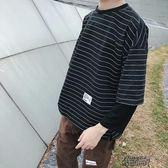 假兩件上衣男秋季男士長袖T恤韓版嘻哈bf衛衣ins寬鬆假兩件秋裝上衣秋衣潮衣服 街頭布衣