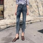 復古藍牛仔褲女春季新款韓版顯瘦高腰緊身九分小腳褲