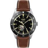 【台南 時代鐘錶 Henry London】英倫復古風潮 運動風格機械錶 HL42-AS-0331 黑/銀 42mm