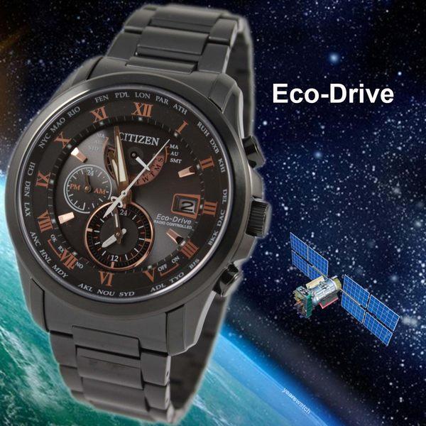 【萬年鐘錶】星辰 CITIZEN  電波  Eco-Drive光動能 三眼限定版羅馬 黑鋼 錶殼帶+BIP處理 43mm  AT9085-53E