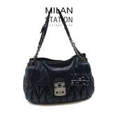 【台中米蘭站】MIUMIU 深藍可芙鏈帶肩背包