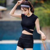 復古游泳衣女分體平角褲短袖高腰保守顯瘦韓國溫泉小香風學生泳裝      芊惠衣屋