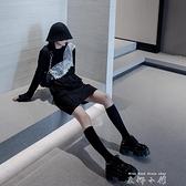 CHICSKY 黑色長袖衛衣女2021新款秋圓領減齡穿搭設計感小眾上衣