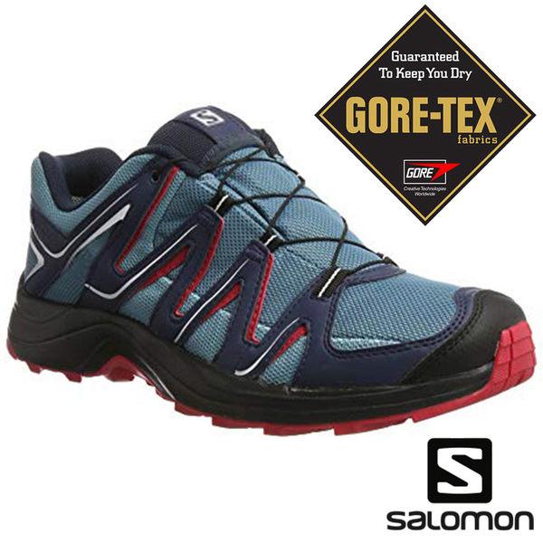 【SALOMON 法國】女 XA FUSTER GTX野跑鞋『蔚雨藍/石板藍/檸檬黃』381431 越野鞋|慢跑鞋|登山鞋