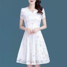 夏季洋裝女2021新款蕾絲收腰短袖大碼女裝時尚韓版修身女裙 快速出貨