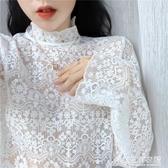 春夏網紅內搭打底長袖網紗小襯衫洋氣蕾絲衫花邊鏤空上衣女潮 三角衣櫃