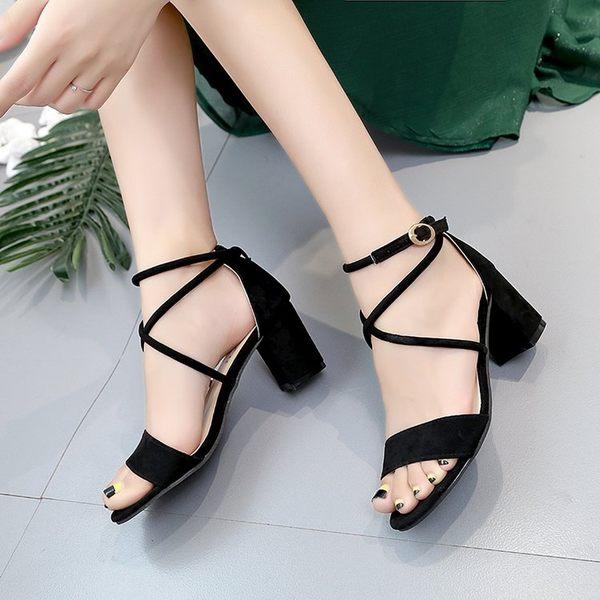 綁帶一字扣高跟鞋羅馬涼鞋粗跟韓版百搭性感魚嘴女鞋k-shoes