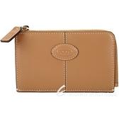 TOD'S Logo 楕圓徽章牛皮鑰匙釦繩卡片夾/零錢包(棕色) 2040297-07