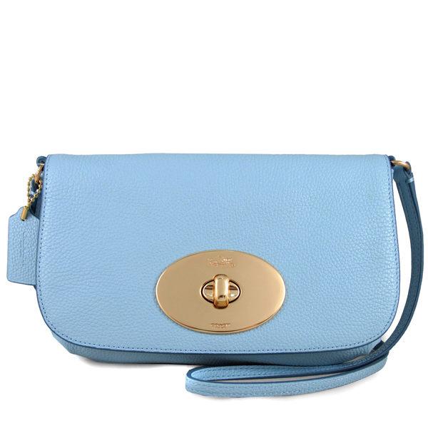 COACH 鵝卵石紋全皮革大旋扣包 翻蓋包 斜背包(湛藍色)-52896