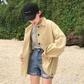 韓版bf復古百搭寬鬆長袖純色休閒外套女夾克上衣 蓓娜衣都