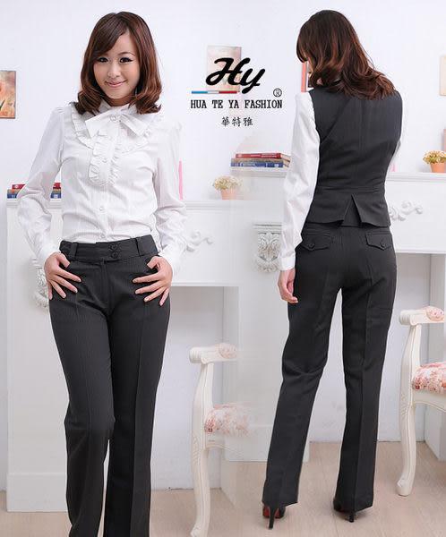 【大尺碼-HTY-619D-C】華特雅-美型風采OL辦公室女雙釦直筒褲-科技布料竹炭紗(深邃灰條)