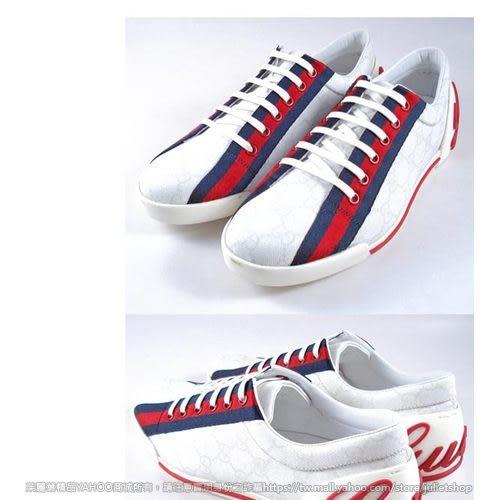 茱麗葉精品 全新精品 GUCCI 藍紅藍防水帆布鞋(白色)