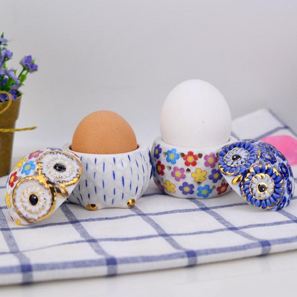 【堯峰陶瓷】貓頭鷹陶瓷鏤空金薰香盒小號 單入水煮蛋杯 飾品置物 桌面擺飾 多用途