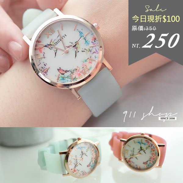 春氛優雅花鳥果凍清透QQ矽膠錶帶手錶