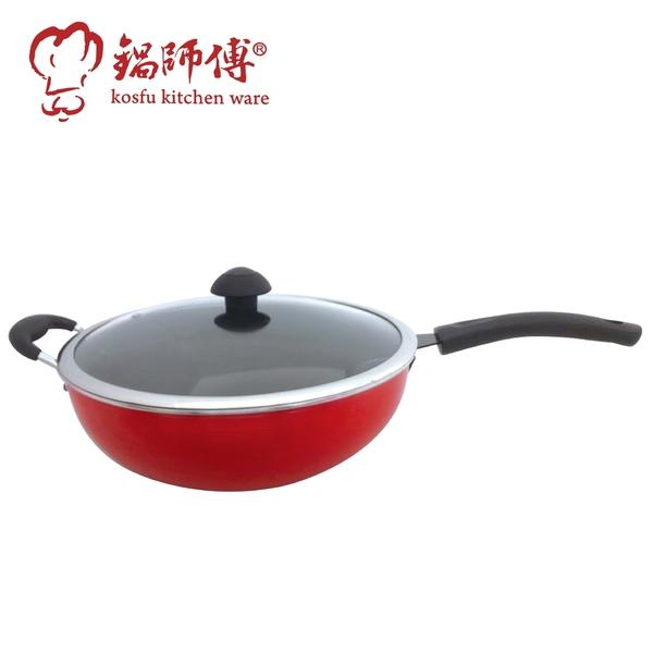台灣製造鍋師傅 遠紅外線不沾紅色炒鍋 33cm附玻璃蓋-航鈦合金不沾鍋 備長炭 平底鍋