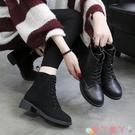 馬丁靴 馬丁靴女秋款2021新款潮低跟帥氣系帶中筒靴百搭靴子女平底短靴 愛丫 新品