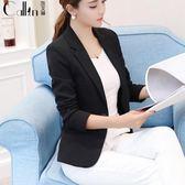 小西裝 韓版女外套短款修身大碼黑色西服上衣