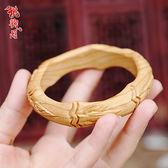 手鐲 桃木手镯女款手环手工雕刻民族风木质雕花手镯女饰品情侣镯子 夢藝家