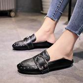 小皮鞋英倫復古女2018新款豆豆鞋女一腳蹬懶人平底網紅單鞋兩穿 99狂歡購物節