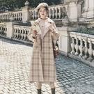 長款外套赫本風格子外套女中長款秋冬氣質小個子韓版學生森繫大衣 【快速出貨】