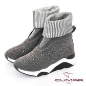 【CUMAR】中性之美閃耀異材質厚底台休閒風格短靴(灰色)