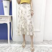 一片式半身裙夏不規則系帶中長裹裙高腰顯瘦仙女沙灘雪紡碎花長裙 樂芙美鞋