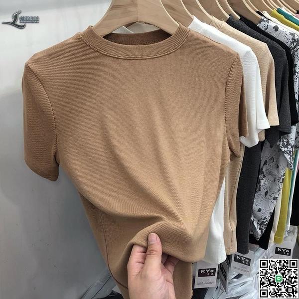 冰絲t恤短袖女裝夏季設計感小眾半袖修身針織衫短款上衣【邻家小鎮】