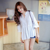 【藍色巴黎】 韓系寬鬆V領喇叭袖娃娃襯衫 / 上衣 【28384】
