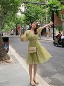 紗裙牛油果綠連身裙女夏季雪紡仙女超仙泡泡袖網紅小個子網紗中裙 交換禮物
