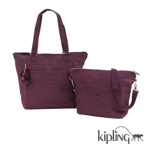 Kipling 深紫素面手提側背包-大