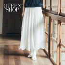 Queen Shop【03020632】簡約好感繡花棉麻長裙 兩色售*現+預*