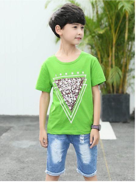 衣童趣♥夏季韓版中大男童 短袖 三角形碎花貼布造型 上衣 休閒外出百搭款 三色可選