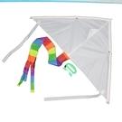 空白風箏 彩繪風箏 DIY風箏 /進口(彩色尾巴)/一袋10支入{定40}三角風箏~2363-2