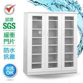 IHouse-SGS 防潮抗蟲蛀緩衝塑鋼三開門鞋櫃胡桃