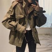 春季新款韓國chic復古百搭工裝寬鬆休閒口袋收腰風衣外套女