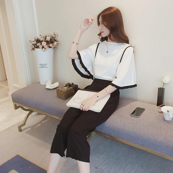 【GZ83】兩件式套裝時尚寬鬆喇叭袖襯衫+高腰七分吊帶寬褲兩件套套裝