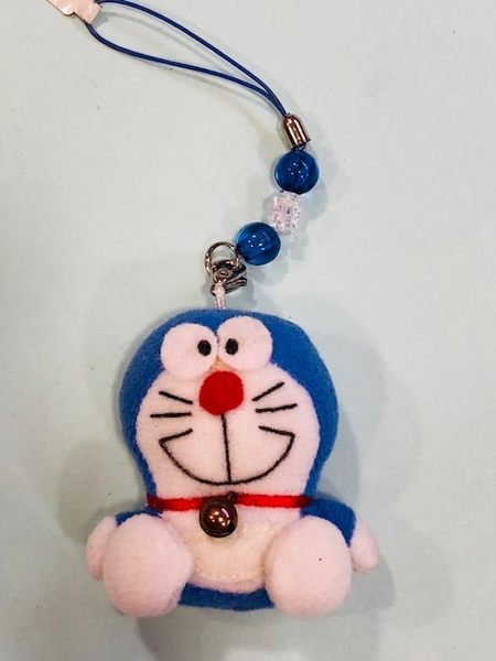 【震撼精品百貨】Doraemon 哆啦A夢~Doraemon手機吊飾-絨毛珠珠機鍊