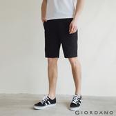 【GIORDANO】男裝天然棉休閒短褲 - 09 標誌黑