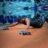 健腹盤男腹肌輪健身器材軸承四輪健身滑盤滾輪收腹捲腹鍛煉腹肌盤wy【全館免運可批發】