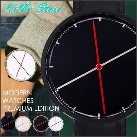 德國工藝 簡約細微刻度 時尚新潮 紅點概念設計 皮革 手錶 中性錶 男錶 女錶 【KIMI store】